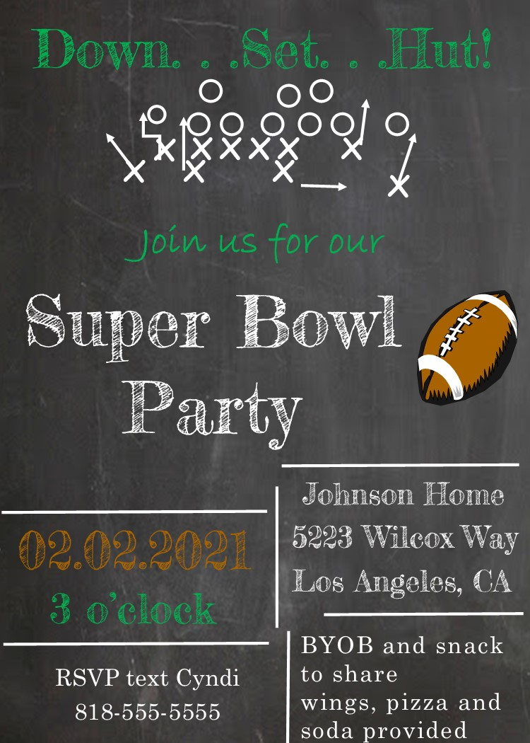 It's just a graphic of Gutsy Super Bowl Party Invitations Free Printable
