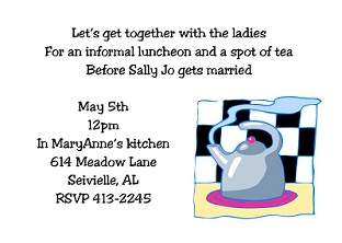 Bridal shower invitations around the house around the clock tea party invitations stopboris Gallery
