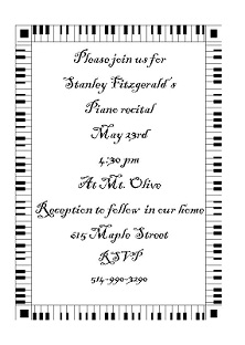 recital party invitations