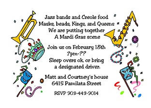 Mardi Gras Party Invitations 2018