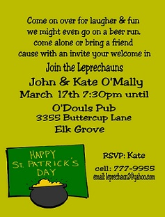 St Patricks Day Party Invitations St Pattys day 2017