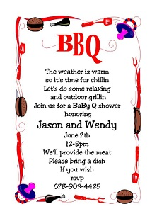 babyq baby shower barbeque party invitation
