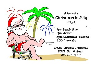 Christmas In July Party Clipart.4th Of July Party And Patriotic Invitations For New