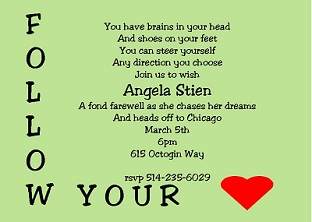 going away follow your heart party invitations - Going Away Party Invite