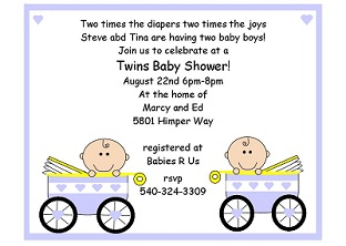 Twins Baby Shower Party Invitations