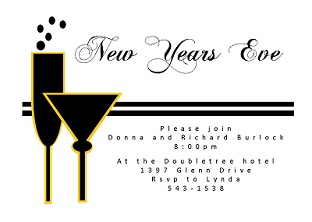 couple of cocktails new years eve party invitations