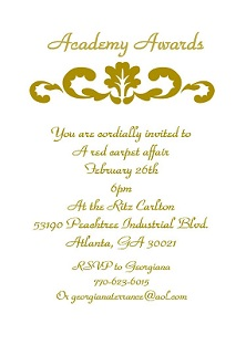 Golden - academy awards party Invitations