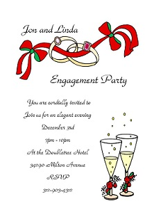 Holiday Christmas Engagement Party Invitations