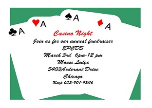 Bunco Casino and Game Night Party invitations NEW selections Summer