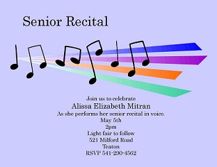 Piano Ballet and Musical Recital Invitations NEW selections Summer 2018