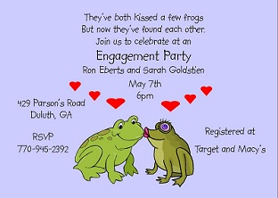 Kissing Frogs - Engagement Party Invitation