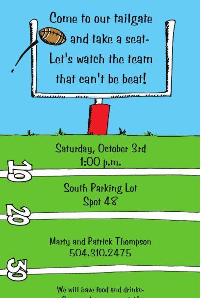 Field Goal Super Bowl Football Party Invitations