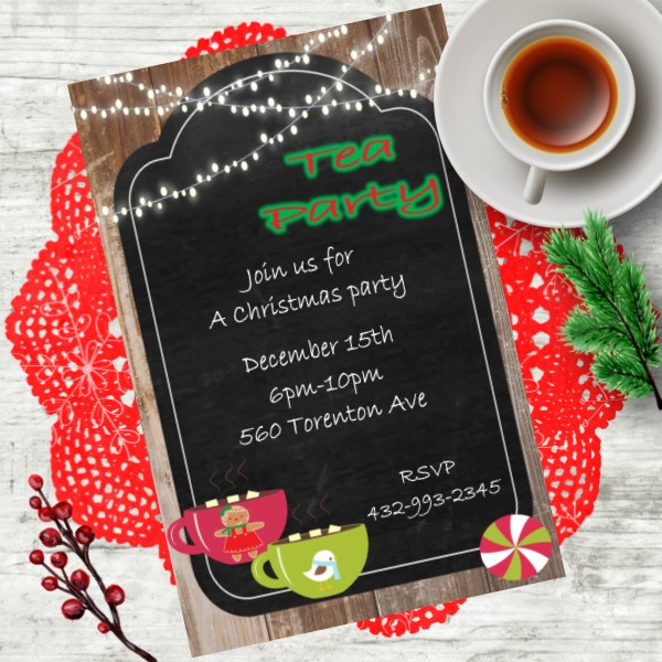 christmas tea party invitations