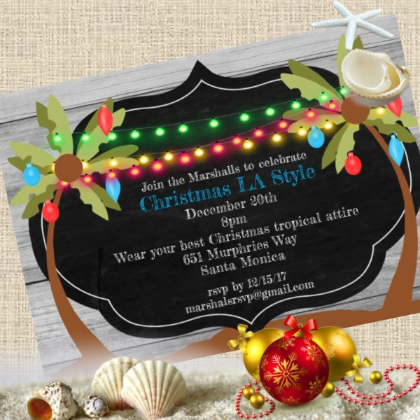 tropical Christmas Invitations