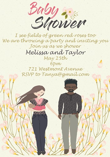 Baby shower invitations for couples fall 2018 partyinvitations interracial black man and white woman baby shower invitations filmwisefo