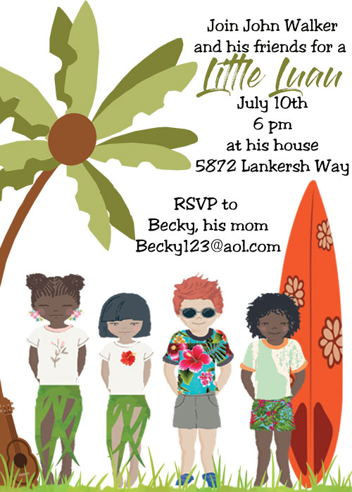 Luau Tropical and Beach Party Invitations NEW selections Spring 2017 – Luau Party Invitation