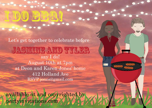 bbq couples bridal shower invitations