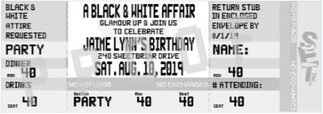 Black and white party invitations new selections fall 2018 adult black and white party ticket invitation filmwisefo