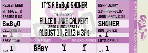 Baby Shower Ticket Invitation
