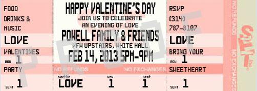Valentine Party Ticket Invitation