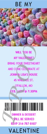 Candy Hearts Valenting Ticket Invitation