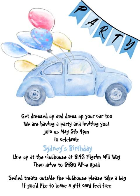 Driveby Parade Quarantine Birthday Party Invitations New Selections Winter 2020