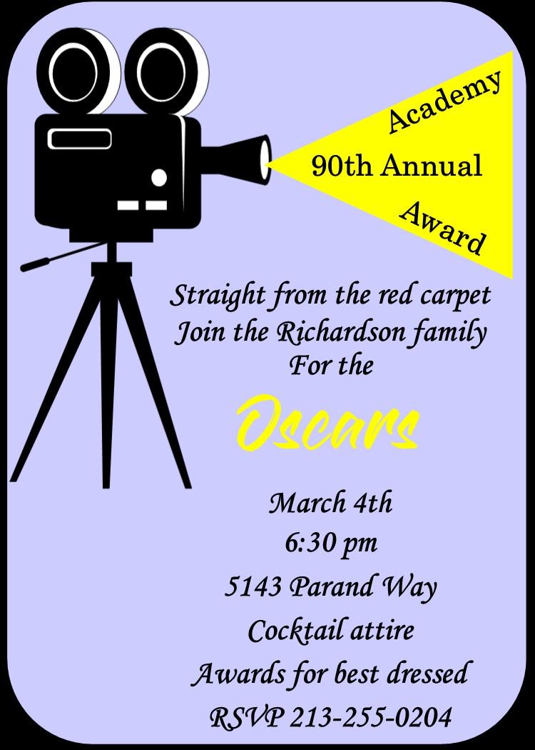 Academy Awards Party Invitations Oscar Awards Party Invitations