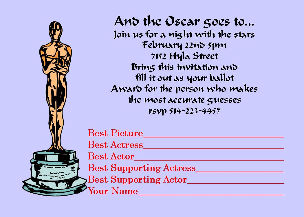 Academy Awards Party Invitations and Oscar invitations NEW ...