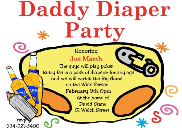 Daddy Diaper Party Invitations NEW selections Summer 2018