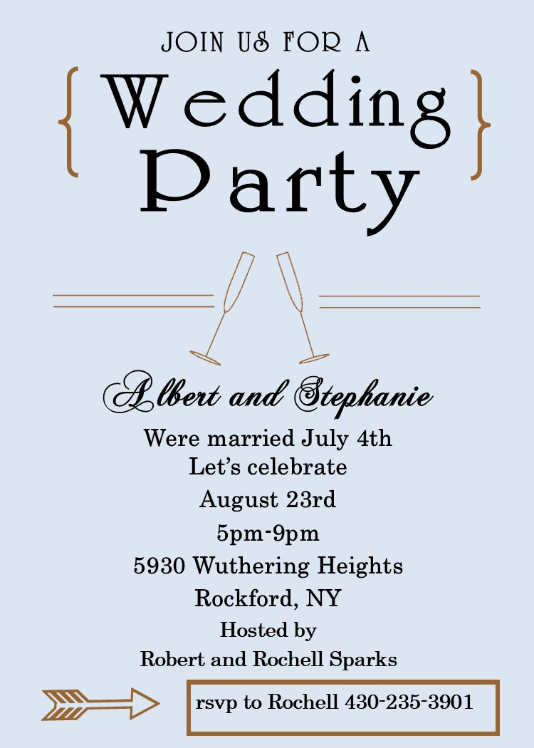 Elopement Party Invitations Reception Only