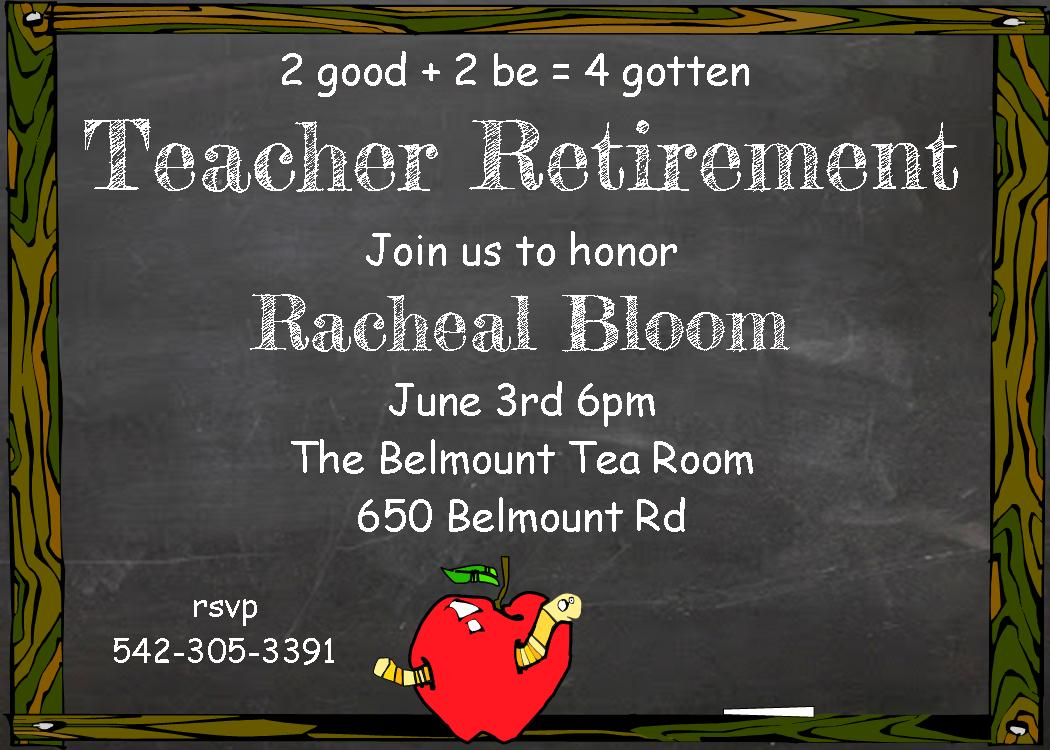 Retirement party invitations custom designed new for fall 2018 teacher retirement party invitations stopboris Image collections