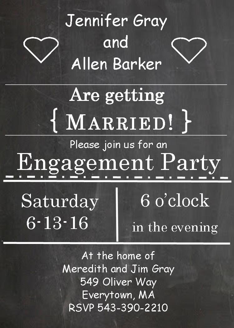 chalkboard and hearts engagement party invitations