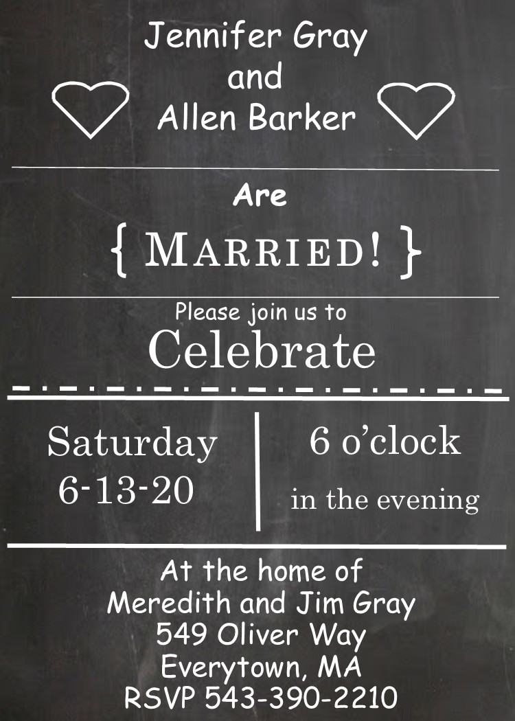 Chalkboard Elope Party Invitations