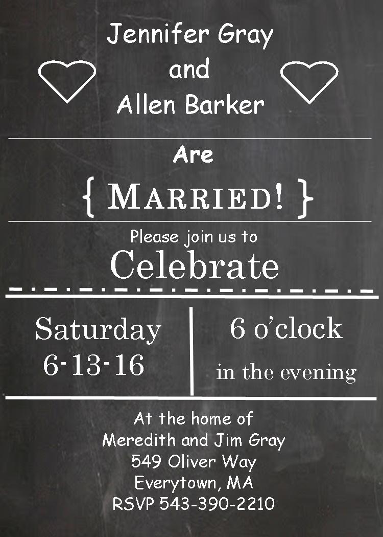after the wedding party invitations or elopement party invitations new