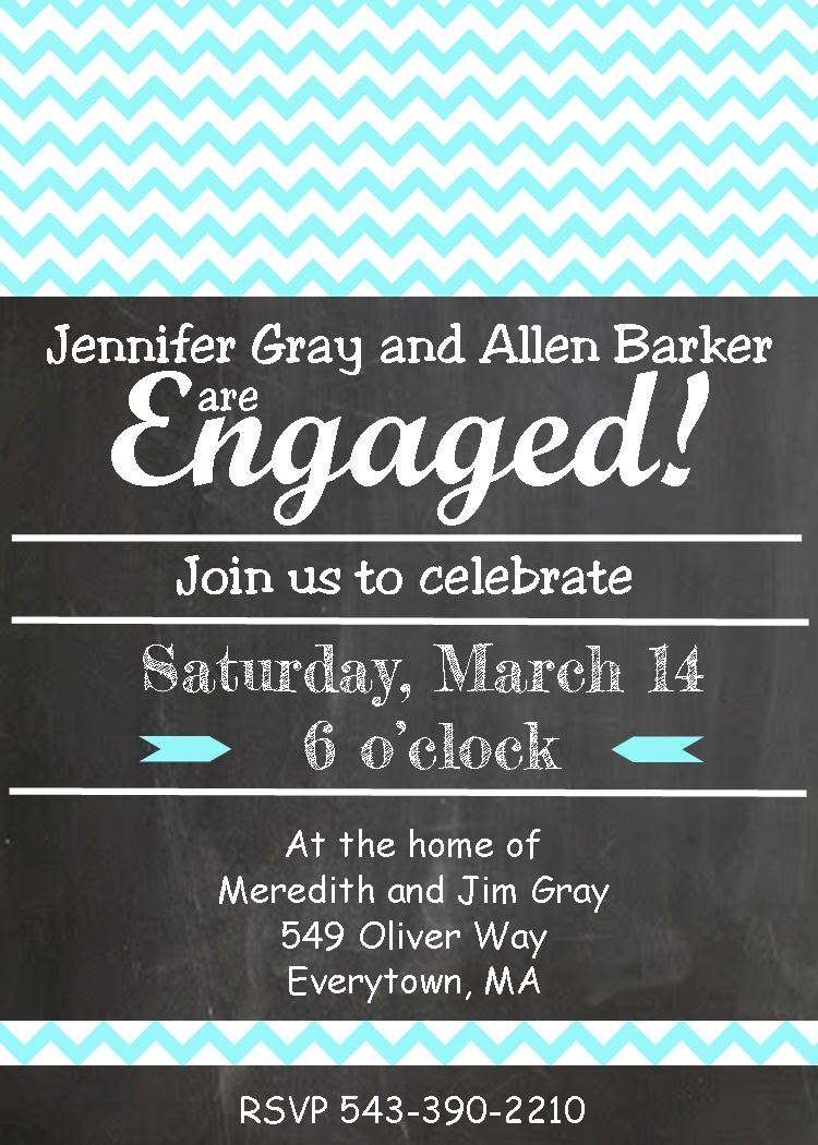 chalkboard chevron teal engagement party invitations