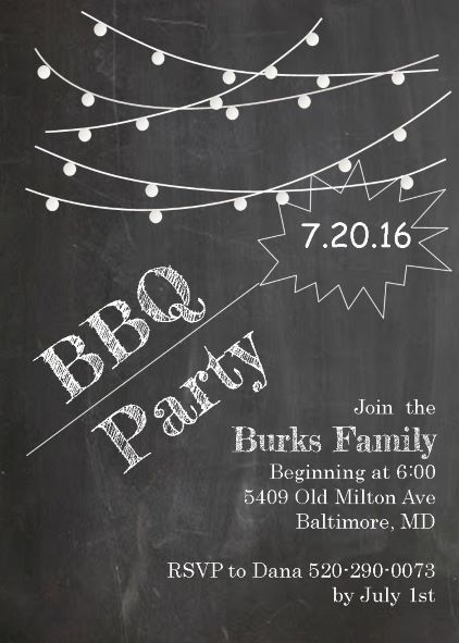 lights on chalkboard bbq party invitations