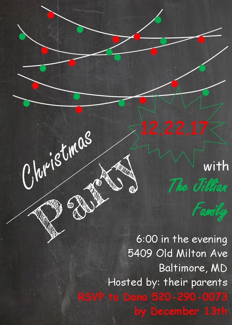 chalk board Christmas Company party invitations