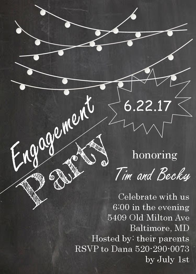 Lights on Chalkboard - Retirement Party Invitations