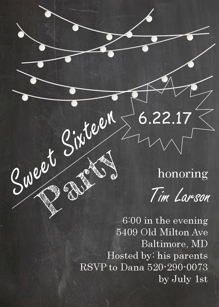 Lights on Chalkboard - Sweet sixteen Party Invitations