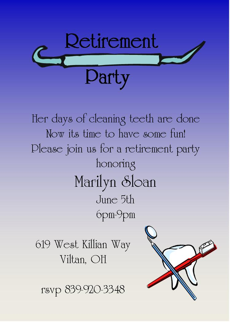 Dentist   Retirement Party Invitations