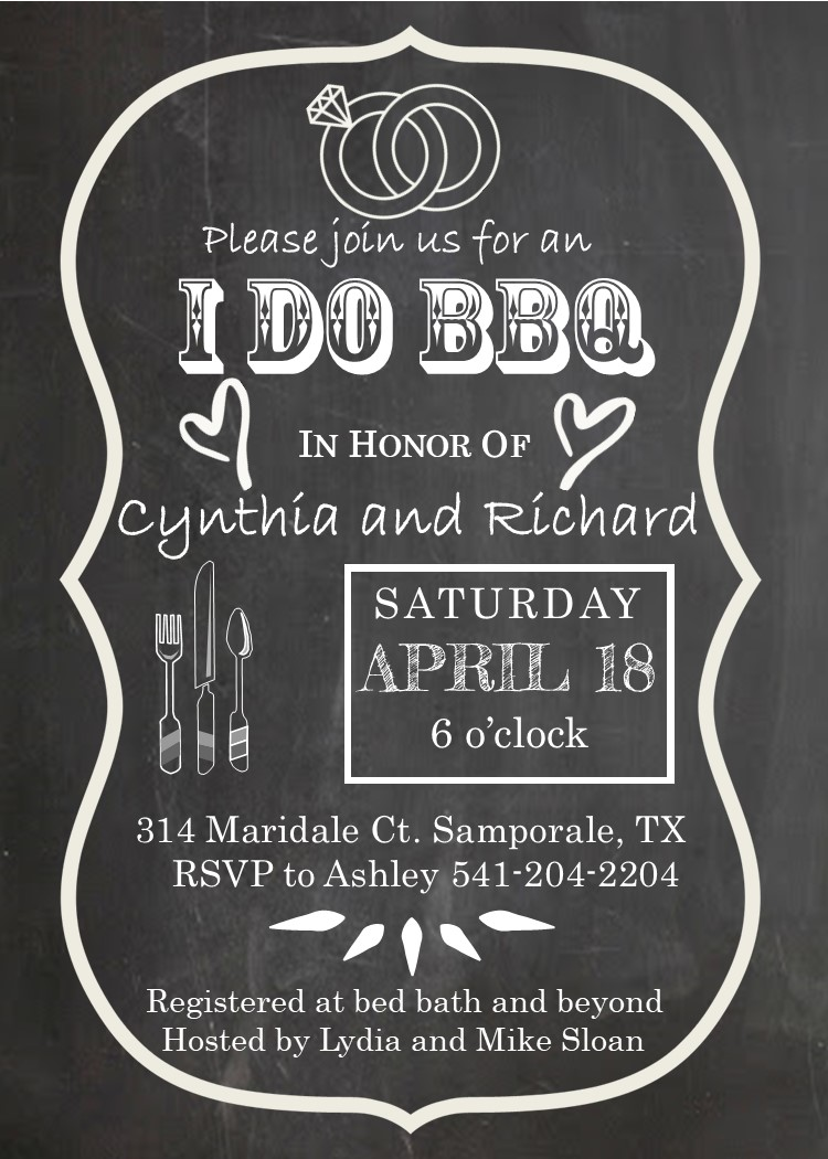 Engagement Barbecue - I do BBQ Party Invitations NEW selections ...