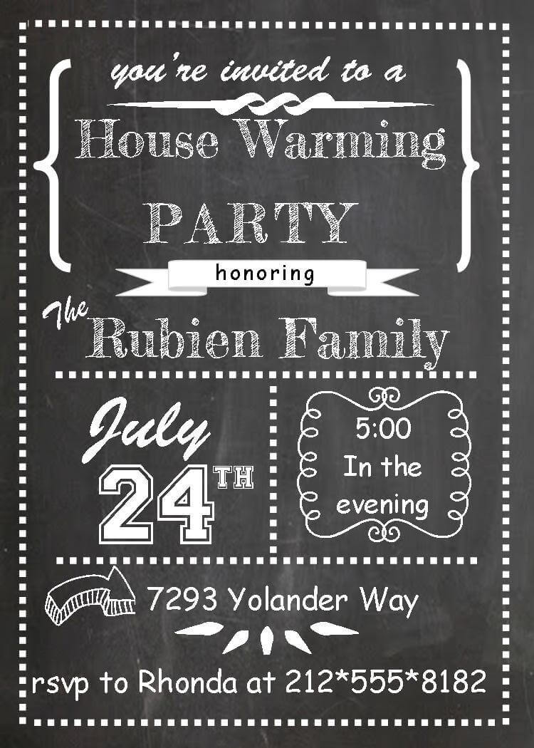 chalkboard housewarming party invitations