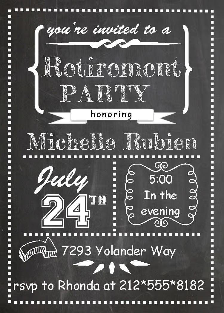 Retirement party invitations custom designed new for fall 2018 chalkboard party invitations stopboris Image collections