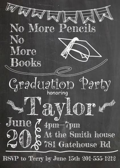 Graduation party invitations high school or college graduation cap on chalkboard graduation party invitations stopboris Choice Image