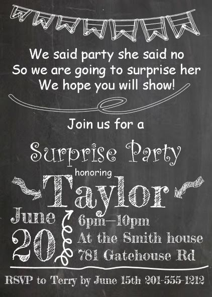 surprise party invitations new selections winter 2018