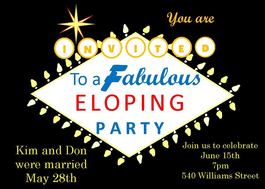 Elopement party invitations reception only invitations eloping after the wedding party invitations las vegas title stopboris Choice Image