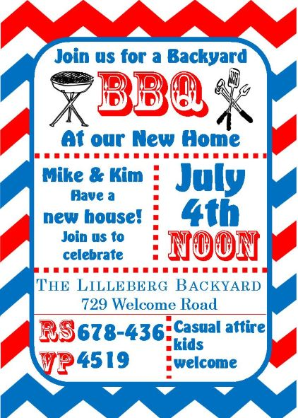 4th of July Party and Patriotic invitations for NEW selections 2018