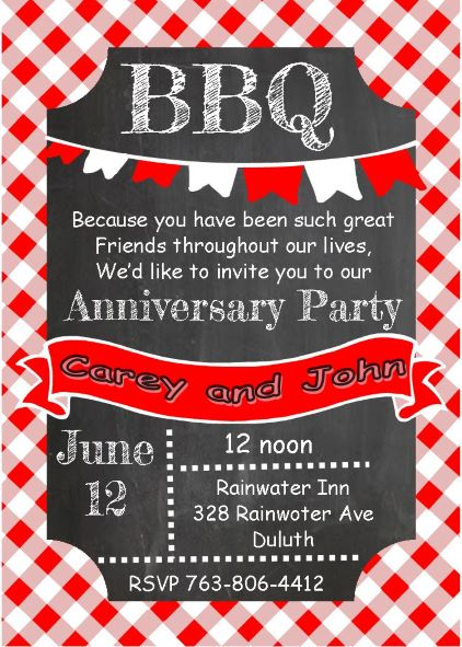 Anniversary party invitations new selections fall 2018 chalkboard and picnic cloth anniversary bbq party invitations stopboris Choice Image