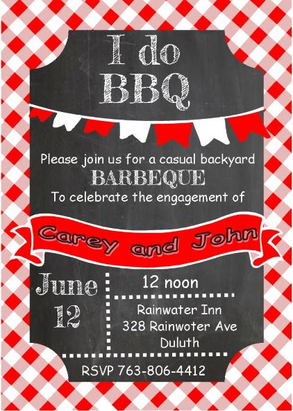 Chalkboard and picnic cloth Engagement - BBQ Party Invitations