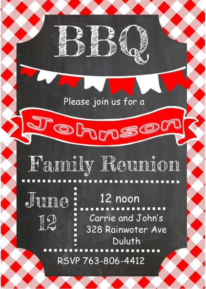 Chalkboard And Picnic Cloth Anniversary   BBQ Party Invitations Sar 1985  BBQ And Cloth Family Reunion ...  Invitations For Family Reunion